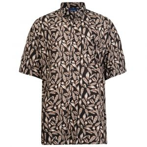 Espionage Mens Short Sleeved Easy Care Feather Print Shirt (252) in Black/Brown