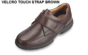 DB SHOES MENS WIDE TOUCH STRAP LEATHER SHOES IN BROWN, (4E FIT) EXTRA WIDE