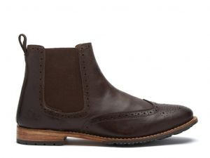 Chatham Mens Goodyear Welted Premium Leather Chelsea Boots (Dudley) in Dark Brown