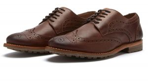 Chatham Mens Goodyear Welted Premium Leather Brogues (Buckingham) in Dark Tan