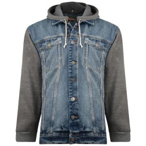 KAM Mens Jersey Sleeved Hooded Denim Jacket (Miguel)