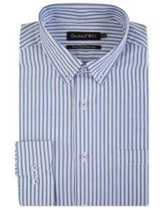 Double Two Mens Pure Cotton Easy Care LS Stripe Oxford Shirt (3837)