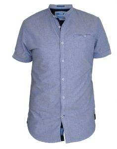 D555 Short Sleeve Oxford Collarless Shirt With Pocket (Dwight)