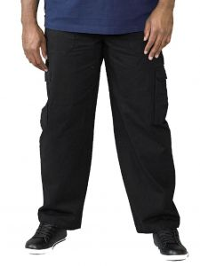 Duke London Mens Extra Tall Combat/Cargo Trousers in Black