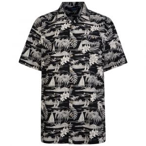Espionage Mens Short Sleeved Hawaiian Print Shirt (259) in Black