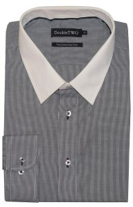 Double Two Pure Cotton Easy Care Micro Check Formal Shirts With White Collar (SS19)