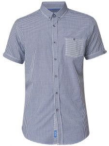 D555 Mens Exta Tall Button Down Gingham Check Shirt With Patch Pocket (Hank)
