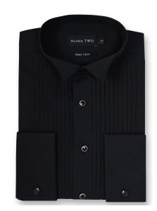 Double Two Mens Stitch Pleat Wing Collar Dress Shirt (5002)