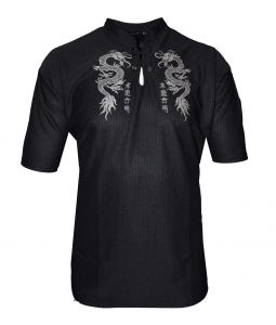 Mens easy care dragon print casual top in Mandarin collar in Size Small to 9XL, Multiple colour options