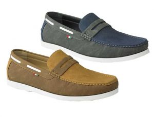 D555 Mens Slip On Boat Shoes With Perforation Details