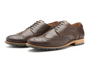 Chatham Mens Goodyear Welted Premium Leather Brogues (Buckingham) in Dark Brown