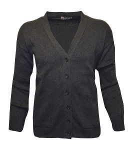 Louie James Mens Cotton Blend Classic 6 Button Cardigan With Twin Straight Pockets in Charcoal in Size 2XL To 8XL