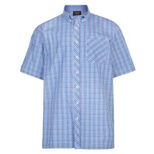 Espionage Mens Classic Short Sleeve Check Button Down Collar Shirt (263)