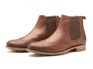 Chatham Mens Goodyear Welted Premium Leather Chelsea Boots (Dudley) in Dark Tan
