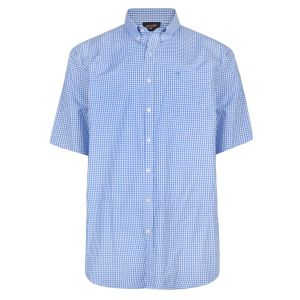 Espionage Mens Classic Short Sleeve Gingham Check Button Down Collar Shirt (267)