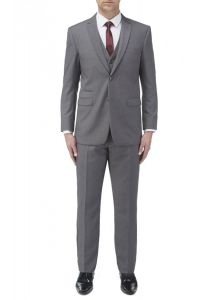 SKOPES Mens Madrid Grey Superfine Twill 3 Piece Suit