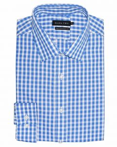 "DOUBLE TWO Mens Pure Cotton Easy Care Long Sleeved Gingham Check Formal Shirts (3607) in Collar 15 TO 23"", 2 COLOR OPTIONS"