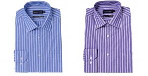 "DOUBLE TWO PURE COTTON EASY CARE BOLD STRIPED FORMAL SHIRTS COLLAR SIZE 18"" TO 23"", 2 OPTIONS"