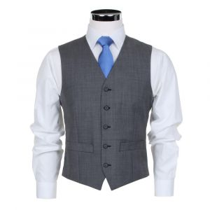 SCOTT Mens Wool Blend Formal Waistcoat in Light Grey in Chest Size 34 to 60, S/R/L