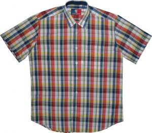 OLD ENGLAND COTTON RICH SHORT SLEEVED SMART CASUAL SHIRT (MULTI),SIZE SMALL-XXL