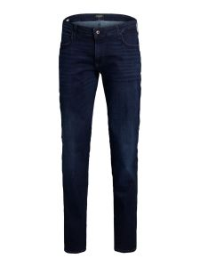 Jack & Jone Mens Glenn Icon JJ 757 Plus Size Slim Fit Jeans in Blue Denim