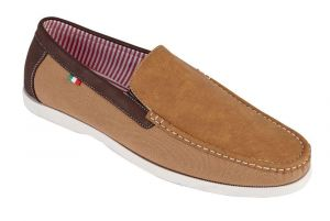 D555 Mens Canvas/Suede Mix Slip On Shoes (Claude) in Tan