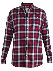 D555 Mens Big Size Long Sleeve Red Check Shirt (Baltimore)