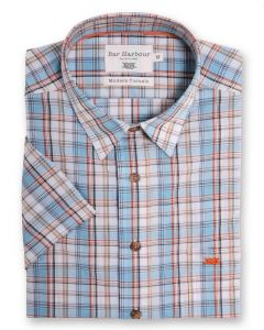 Bar Harbour Premium Cotton Light Weight Short Sleeved Casual Shirt(0135) in Aqua