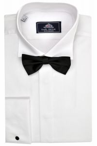 Rael Brook Mens Formal Swept Wing Collar Double Cuff Dress Shirt in White Colour
