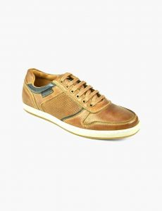 FRONT Mens Round Ethan Casual Sports Lace Up Shoes Tan UK 7 to UK 12