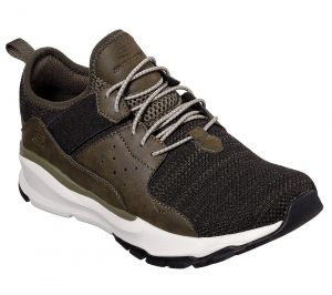 SKECHERS Men's Relven-Arkson Slip On Stretch Laced Sporty Casual Comfort Sneaker in Olive