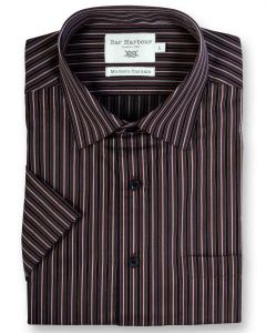 Bar Harbour Premium Cotton Short Sleeved Striped Leisure Shirt(0156) in 2 Colors