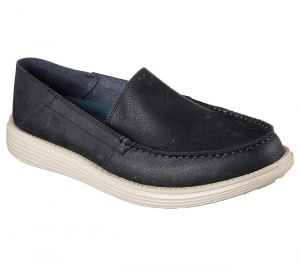 SKECHERS Men's Relaxed Fit Status-Breson Shoes in Black