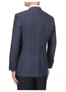 SKOPES Mens Vigo Linen Jacket in Blue Check in Chest 44 to 62 Inches, S/R/L