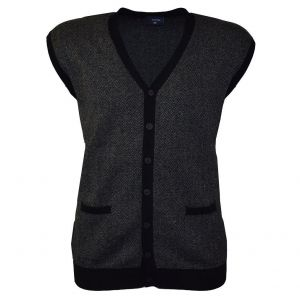 Espionage Mens Pure Cotton Herringbone Button Waistcoat (048) in Black/Charcoal 2XL to 6XL