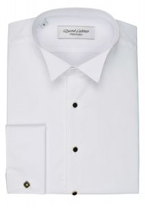 David Latimer Marcella Front Wing Collar Dress Shirt in White