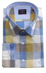 Casa Moda Premium Cotton Comfort Fit Block Check Shirt in Blue/Fawn,Size XXL-6XL