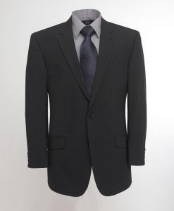 SKOPES EXTRA TALL WOOL RICH SINGLE BREASTED NAVY STRIPE SUIT JACKET IN CHEST SIZE 40 TO 52 XL