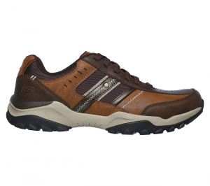 SKECHERS Men's Relaxed Fit: Henrick - Delwood Lace Up Casual Sneakers in Brown