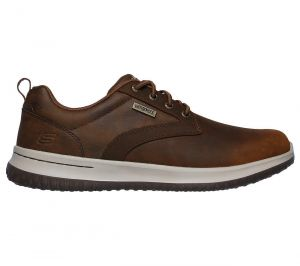 SKECHERS Men's Delson-Antigo Lace up Waterproof Casual Comfort Oxford shoes in Brown