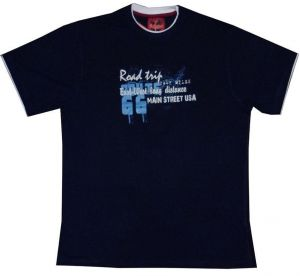 "METAPHOR MENS PURE COTTON PRINTED T SHIRT ""ROAD TRIP"" IN SIZE MEDIUM TO 8XL, NAVY OR WINE COLORS"