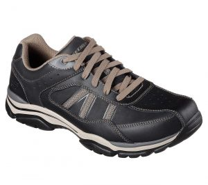 SKECHERS Men's Extra Wide Fit-Relaxed Fit Rovato Texon Casual Shoes in Black/Taupe