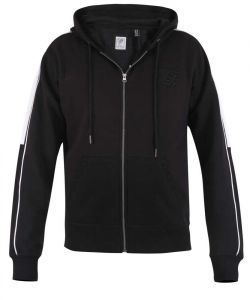 Duke -  D555 Sleeve And Shoulder Contrast With Couture Zip Through Hoodie In Black 2Xl- 6Xl