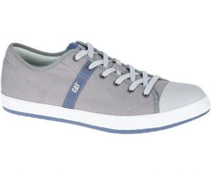 CAT Mens Lace Up Checklist Canvas Sneakers in Grey