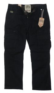 KAM Mens Big Size Relaxed Fit Cotton Cargo/Combat Trousers in Black