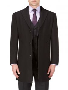 SKOPES Mens Extra Tall Wool Blend Over Coat (Euston) in Black