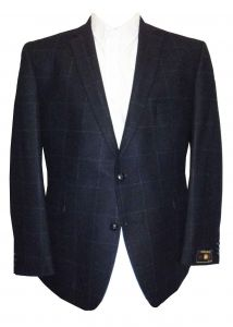 SCOTT Mens Pure New Wool Tweed Navy Over Check Sports Jacket in Chest Size 40 to 60 Inches, S/R/L