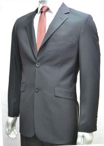 """VOEUT MENS FORMAL SINGLE BREASTED 2 BUTTON SUIT JACKET (RICO) IN BLACK STRIPE CHEST SIZE IN 36 TO 64"""", SHORT AND REGULAR"""