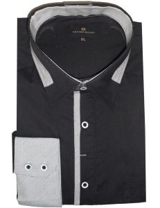 COTTONVALLEY BLACK CLUB SHIRT WITH CONTRAST COLLAR TIPPING(15578),SIZE MEDIUM-XL