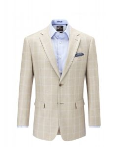 SKOPES Mens Granda Jacket Stone Check in Wool & Linen Blend Fabric (Granada) in Chest 44 to 62 Inches, S/R/L